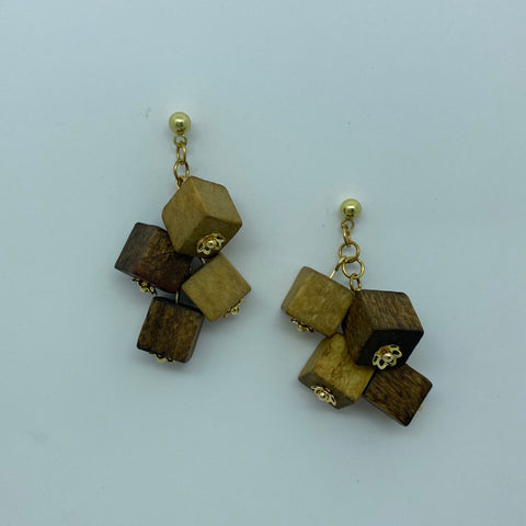 Wooden Haskell Cube Litewood™ Earrings in Natural