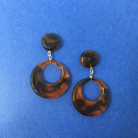 Bakelite Round Dangler Sparklite™ Earrings in Tortoise