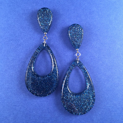 Confetti Lucite Teardrop Sparklite™ Earrings in Royal