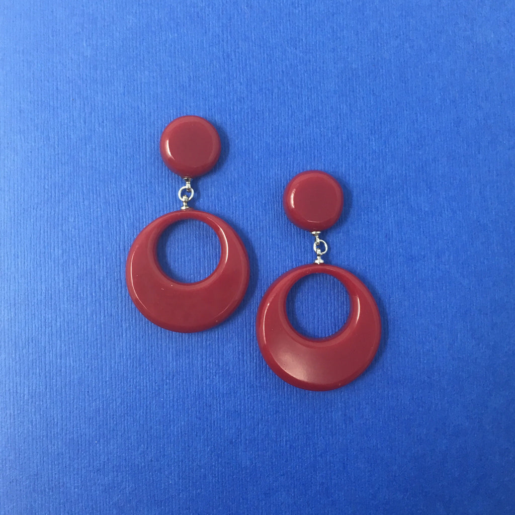 Bakelite Round Dangler Sparklite™ Earrings in Red