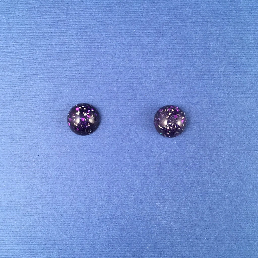 Confetti Lucite Mini Round Sparklite™ Earrings in Eggplant