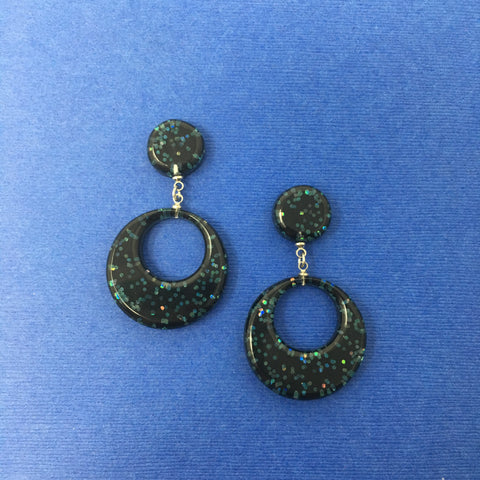 Confetti Lucite Round Dangler Sparklite™ Earrings in Midnight
