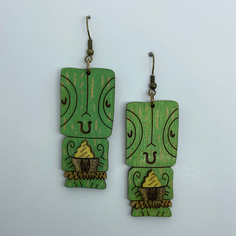 Wooden Tiki Pineapple Whip Litewood™ Earrings by Tiki Tony