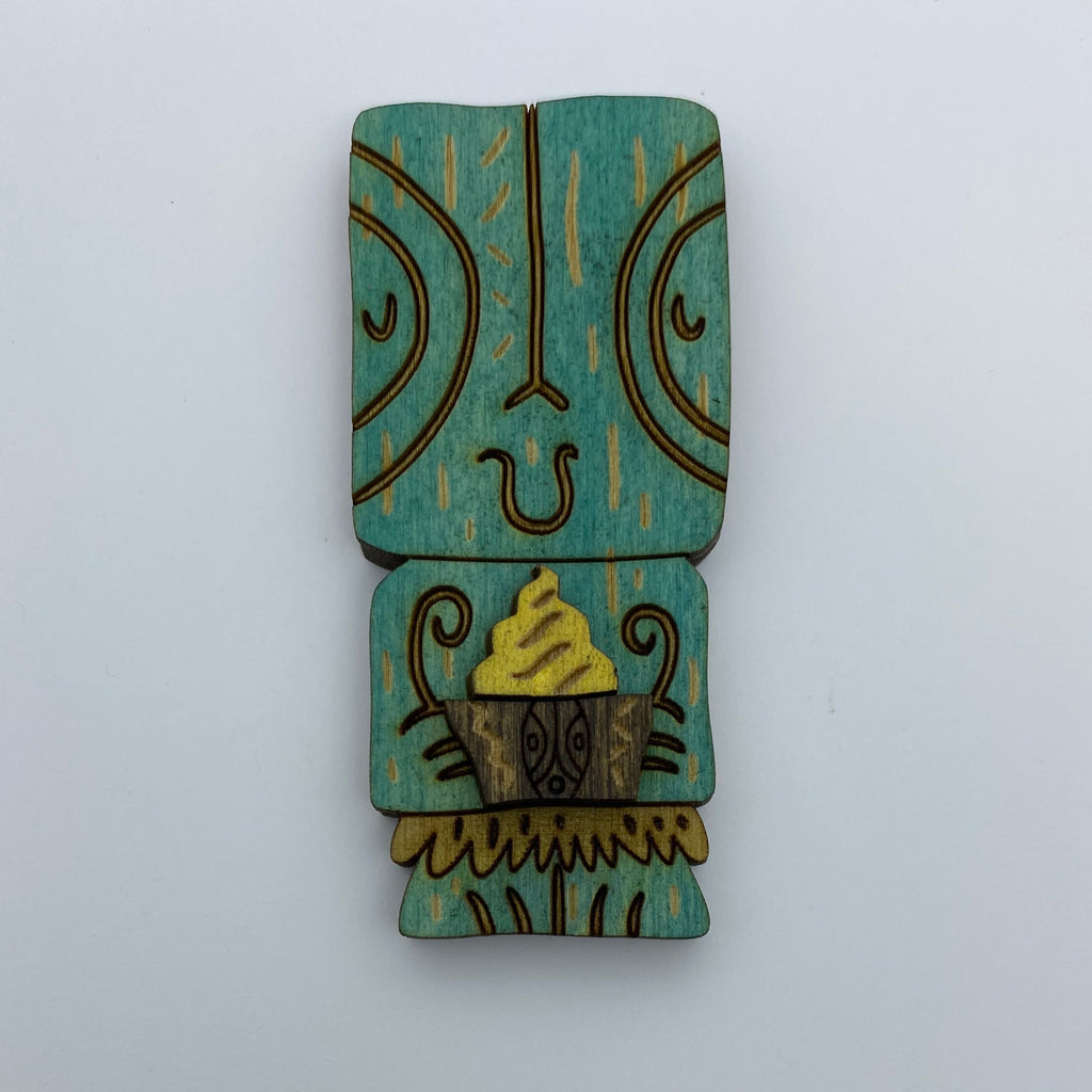 Wooden Tiki Pineapple Whip Litewood™ Brooch by Tiki Tony