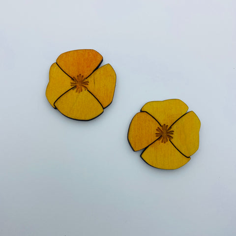 Wooden Large Poppy Litewood™ Earrings