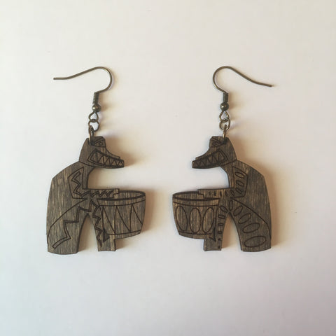 Wooden Tiki Drummer Litewood™ Dangle Earrings