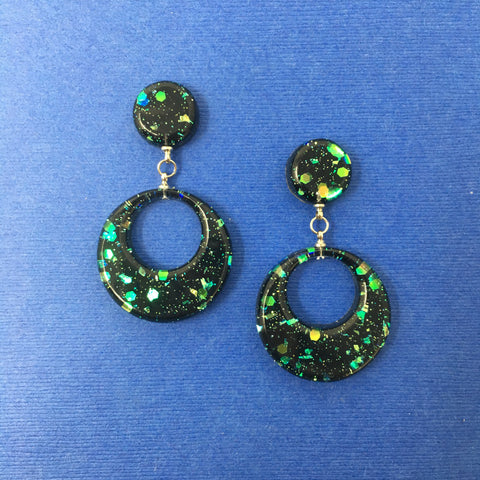 Confetti Lucite Round Dangler Sparklite™ Earrings in Galaxy