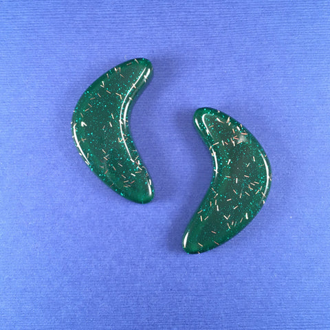 Confetti Lucite Extra Large Boomerang Sparklite™ Earrings in Shamrock