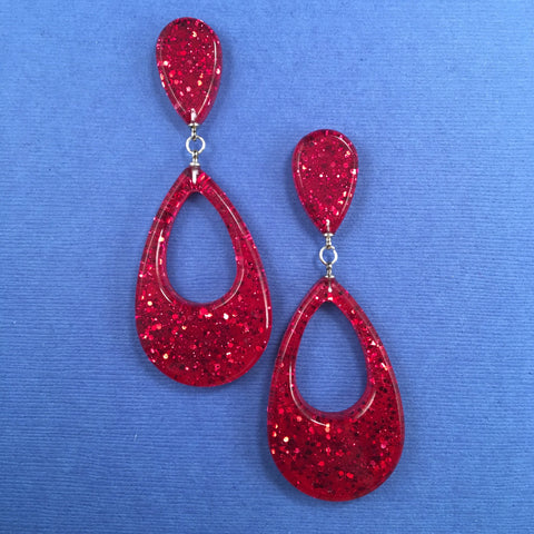 Confetti Lucite Teardrop Sparklite™ Earrings in Ruby