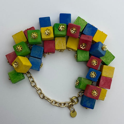 Wooden Haskell Cube Litewood™ Bracelet in Primary