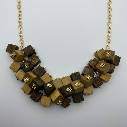 Wooden Haskell Cube Litewood™ Necklace in Natural