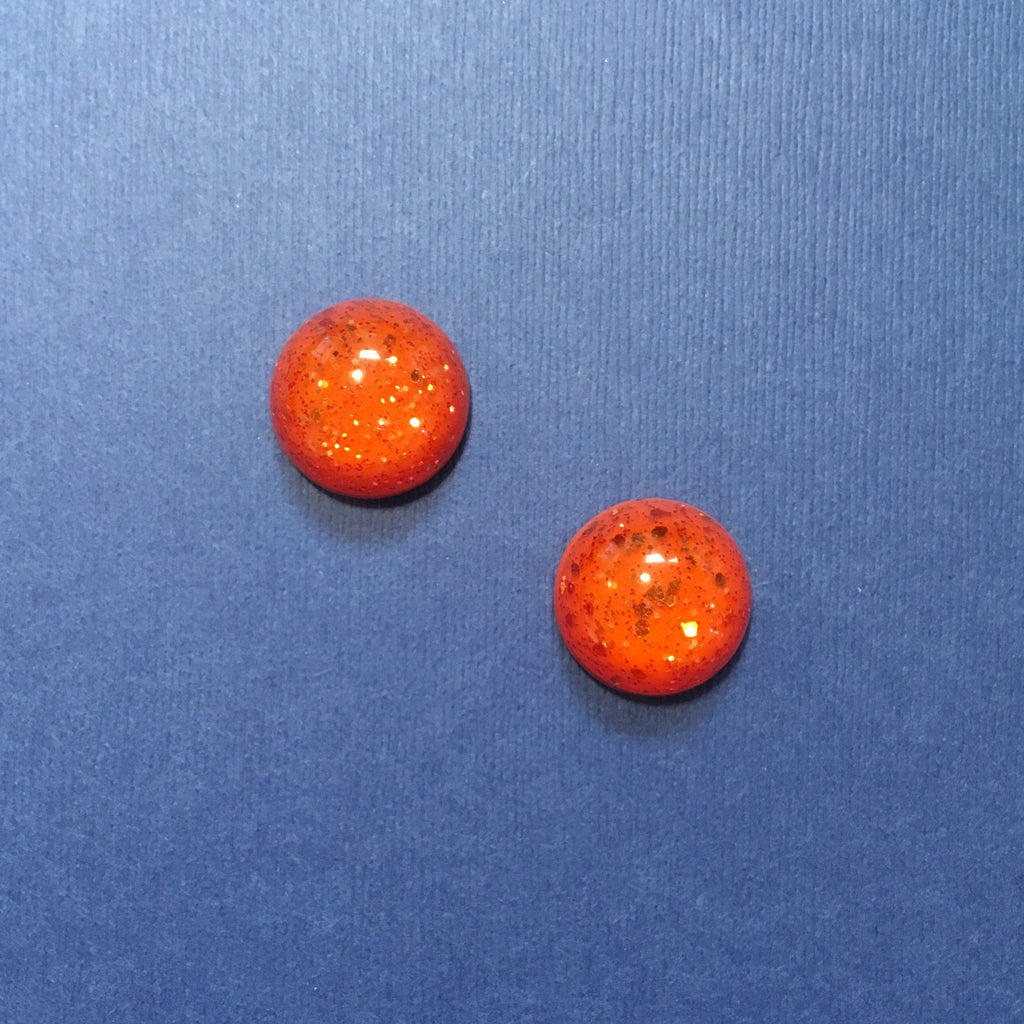 Confetti Lucite Small Round Sparklite™ Earrings in Carrot