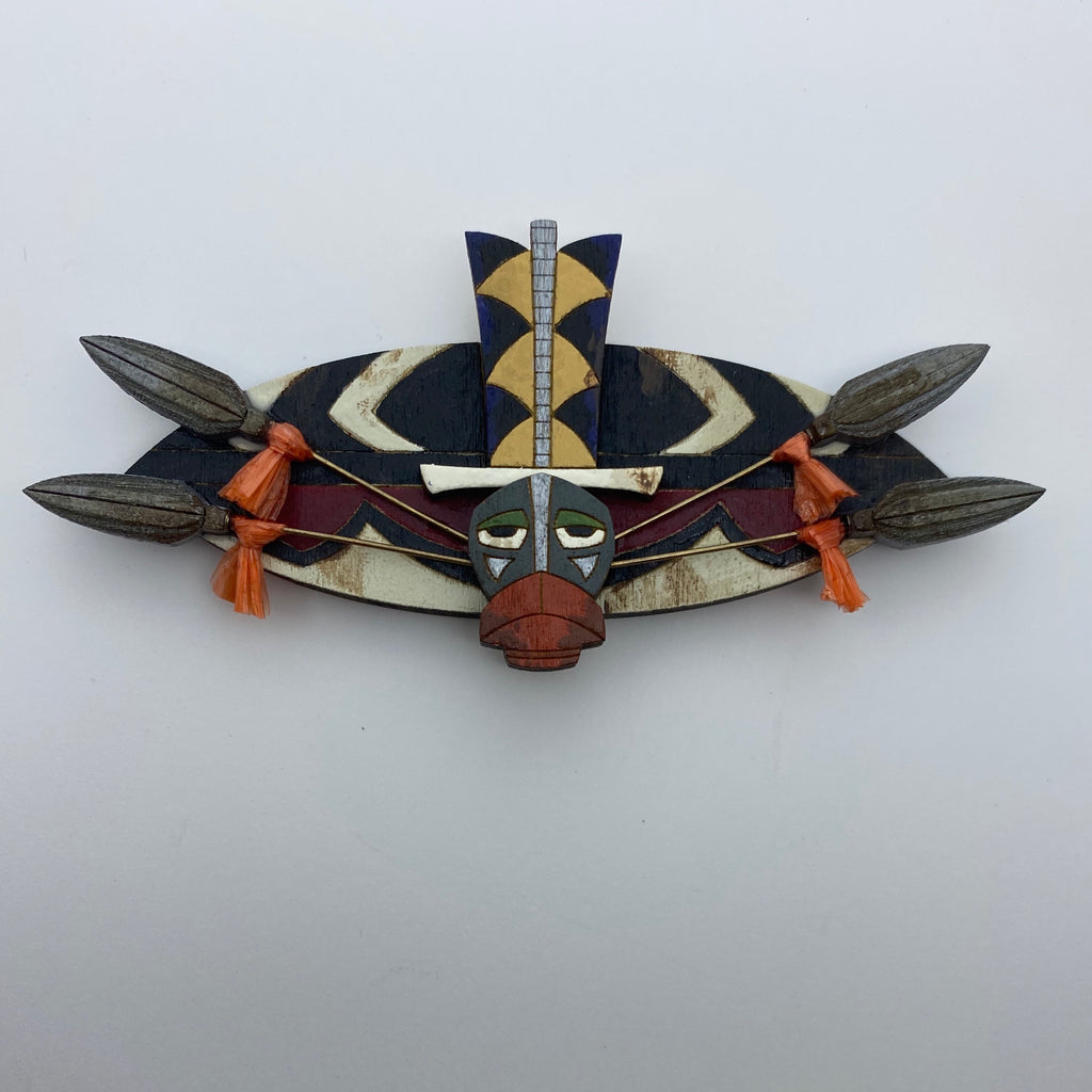 Wooden Head Hunter Brooch