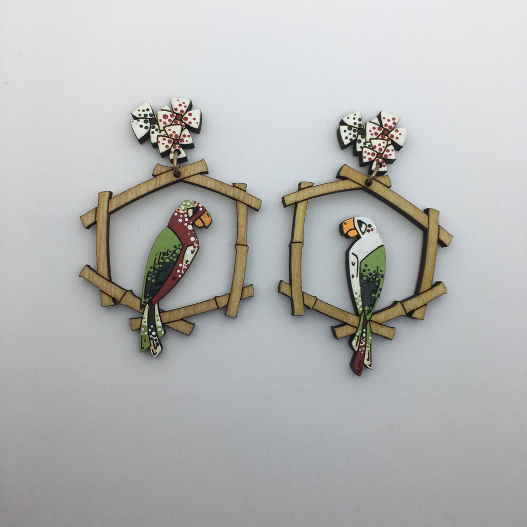 Hand Painted Wooden Tiki Birds Litewood™ Earrings Disneyland Version