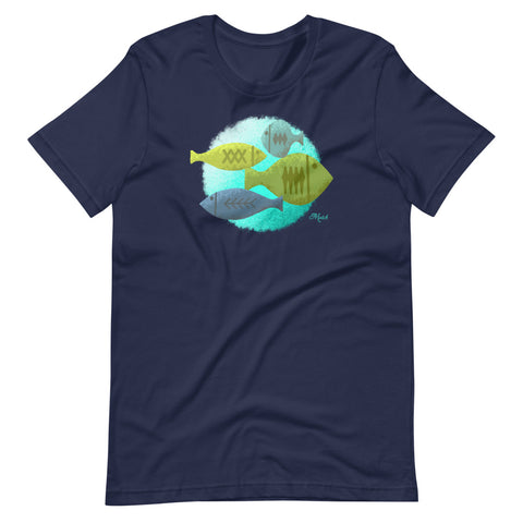 Mid Century Fish - Navy Short-Sleeve Unisex T-Shirt