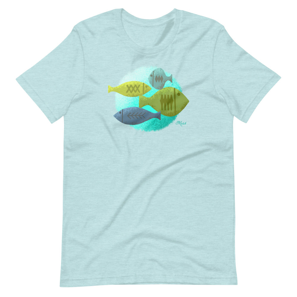 Mid Century Fish - Ice Blue Short-Sleeve Unisex T-Shirt