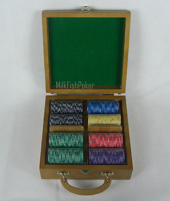 200 EPT Ceramic Poker Chips - With Wooden Case, Cards and Dice