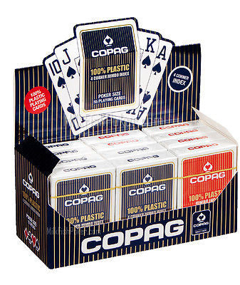 1 Dozen (12) Genuine COPAG 100% Plastic Playing Cards  4 Corner Jumbo Index