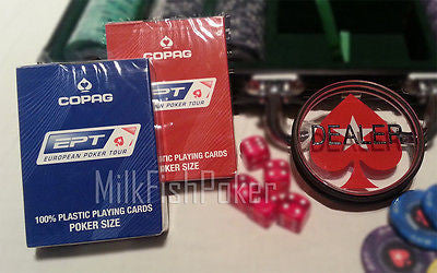 EPT DEALER SET - Official EPT Copag Card Decks + Acrylic Dealer Button