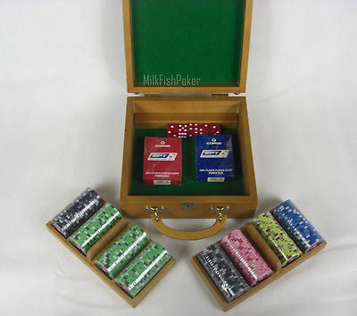200 PCA Ceramic Poker Chips - With Wooden Case, Cards and Dice