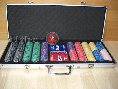 500 EPT Ceramic Poker Chips - with Case, Cards, Button and Dice