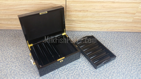500 Piece Empty Poker Chip Case - Wooden Black Gloss - Brand New
