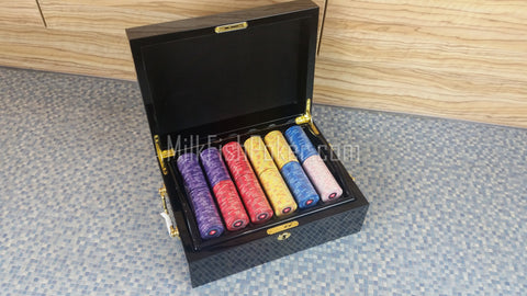 500 EPT Ceramic Poker Chips set - Wooden Black Gloss Case