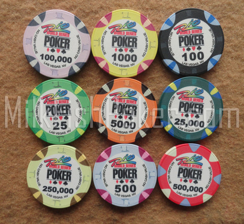 WSOP Ceramic Poker Chips - 9 chip sample