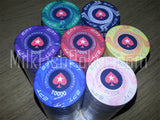 500 EPT Ceramic Poker Chips - with ABS Case, Cards, Button and Dice