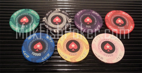 EPT Ceramic Poker Chips - 7 chip sample