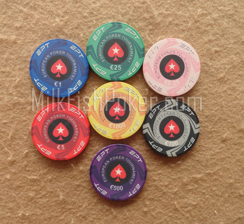 EPT Cash Ceramic Poker Chips - 7 chip sample
