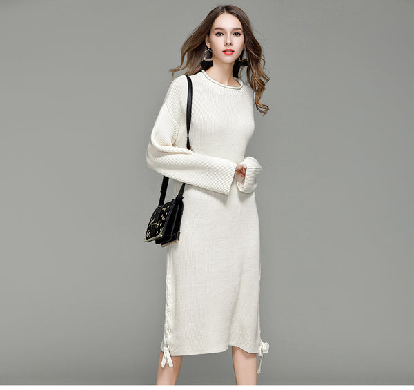 2db7e9b1ad Casual Lace-up Full Sleeve Loose Midi Sweater Dresses with Side Slit