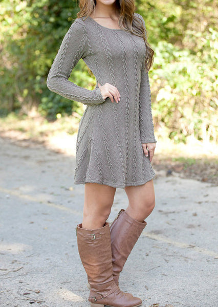 3d14a53f6a Casual Long Sleeve Thin Crewneck Wool Knitted Mini Sweater Dress