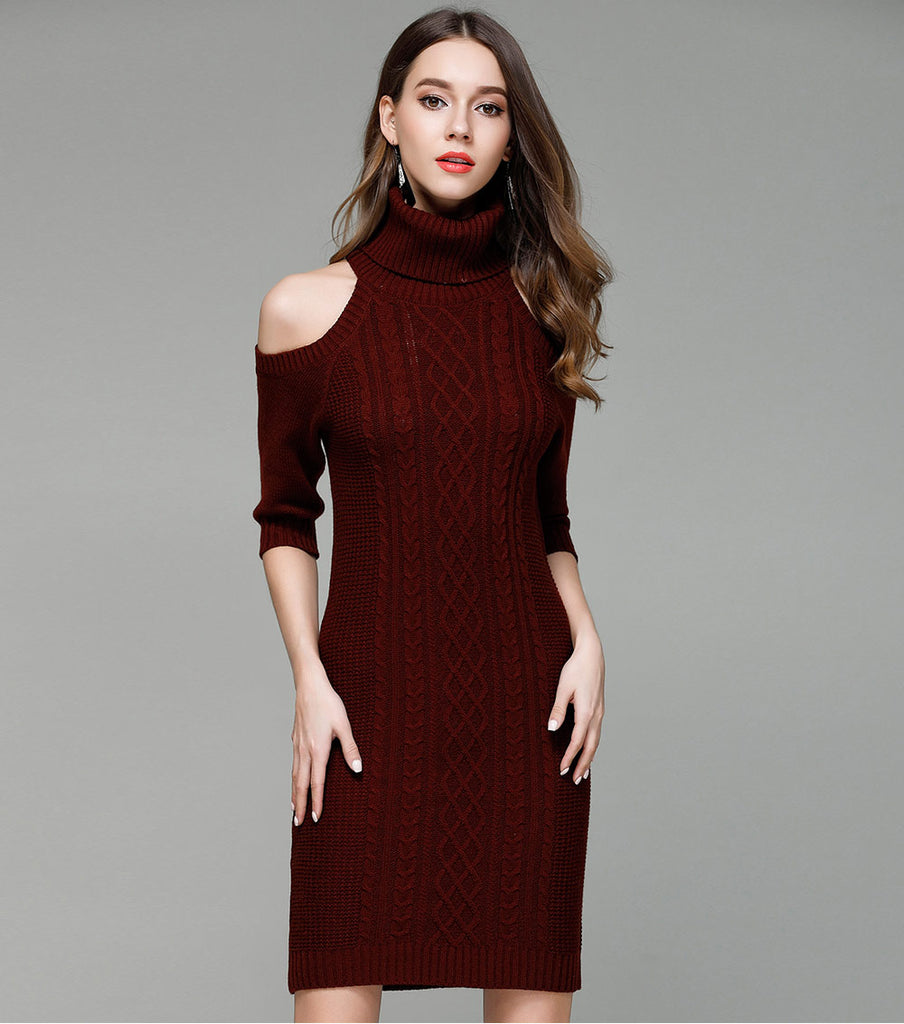f71215b4ebde2 Knitted Turtleneck Off Shoulder Bodycon Dress - Cloth Fix