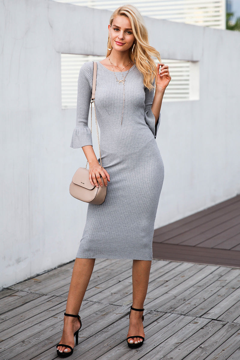 Butterfly Sleeve Knitting Sexy Bodycon Elastic Soft Knee Lenght Cotton Sweater  dress