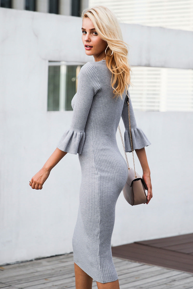 824f2389ab Butterfly Sleeve Knitting Sexy Bodycon Elastic Soft Knee Lenght Cotton  Sweater dress
