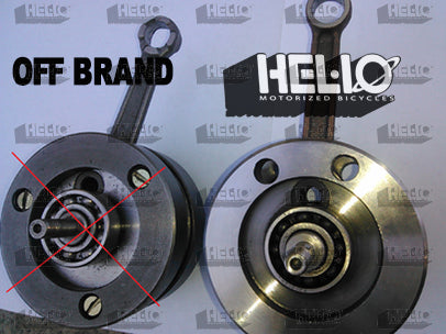 Our competitor's engine has a unbalanced, 3 piece crank  with open, unsealed bearings and bolted on weights.