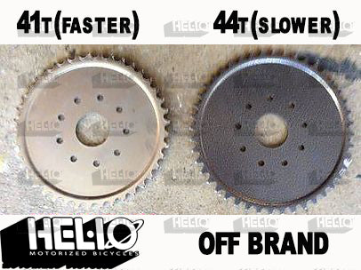 Smaller sprocket with HELIO motors gives you a higher top end speed