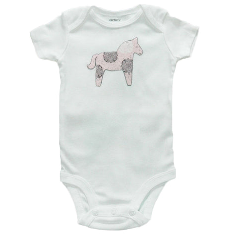 Horse applique baby body suit