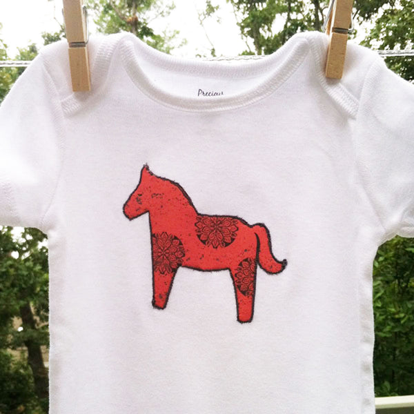 Baby onzie with horse applique