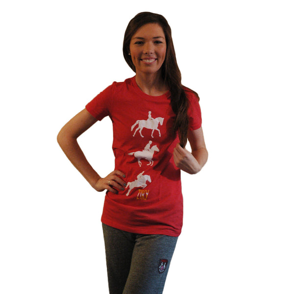 Red horse t-shirt for eventing