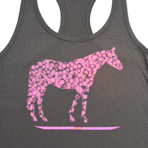 Flower horse olive tank top
