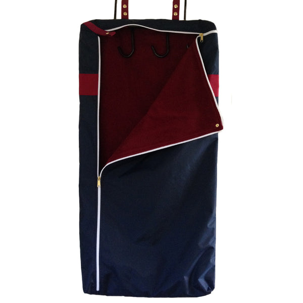 Equestrian garment bag with bridle bag