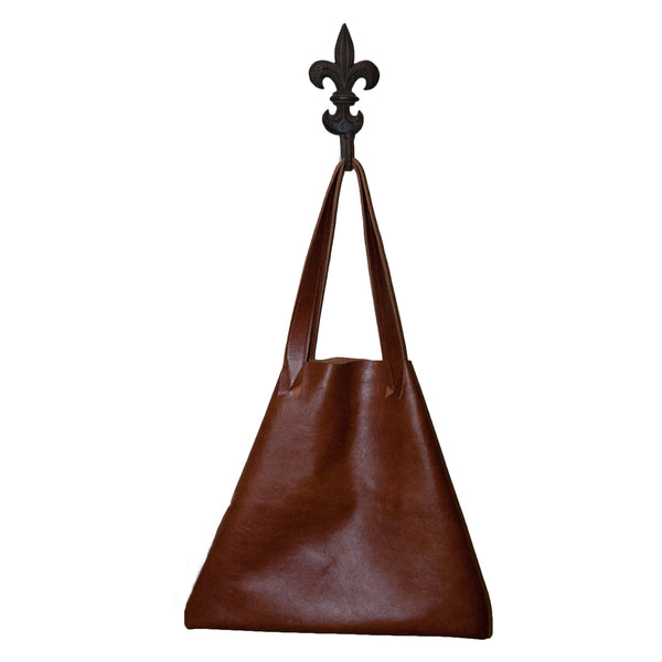 Brown leather tote bag made in USA