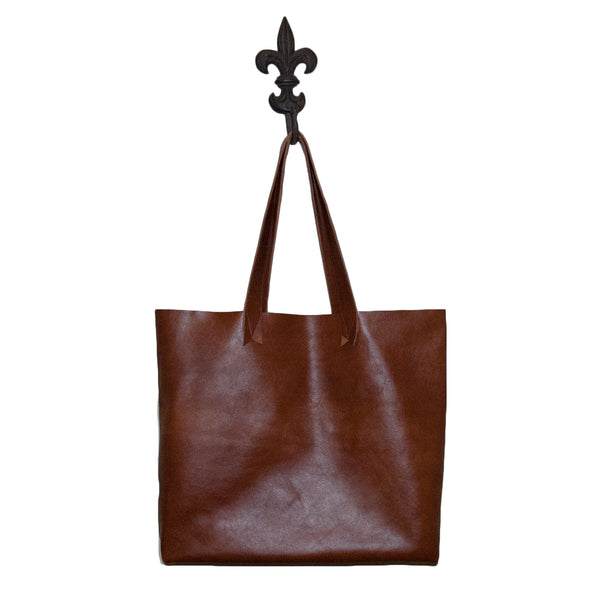 Hand made leather tote bag
