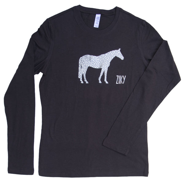 Long sleeve leopard print horse T-shirt