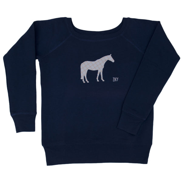 Plaid horse scoop neck sweater