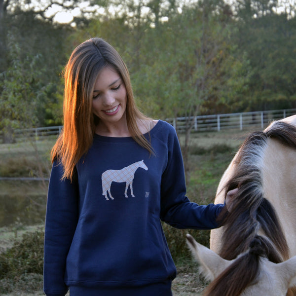 equestrian horse sweater with plaid horse