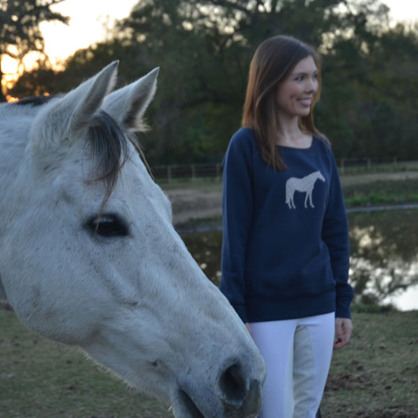 ZIKY horse sweater with plaid horse silhouette