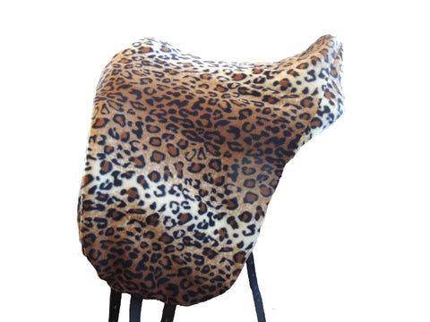 Fleece cheetah print saddle cover